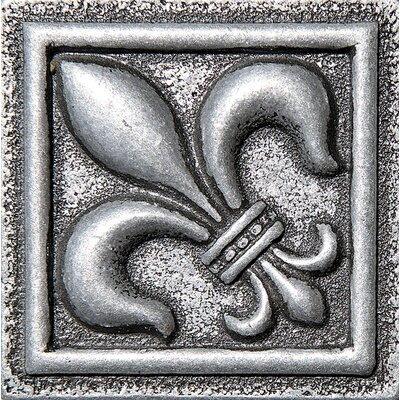 2 x 2 Fleur De Lis Deco Accent Tile in Pewter