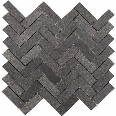 Lava Grande Herringbone 1 x 3 Stone Mosaic Tile in Black