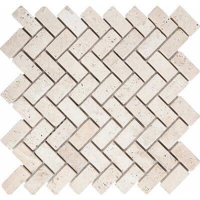 Tumbled Herringbone 1 x 2 Stone Mosaic Tile in Ivory