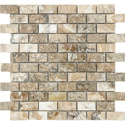 Brick 1 x 2 Stone Mosaic Tile in Antico Polished