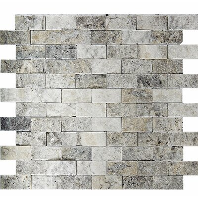 Split Face 1 x 2 Stone Mosaic Tile in Silver