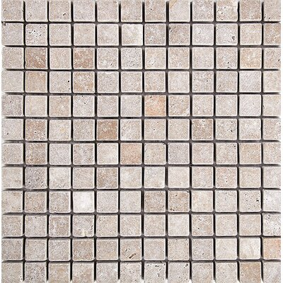 Tumbled 1 x 1 Stone Mosaic Tile in Noce