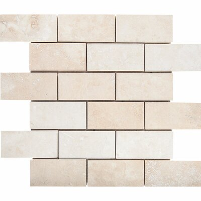 2 x 4 Stone Mosaic Tile in Ivory