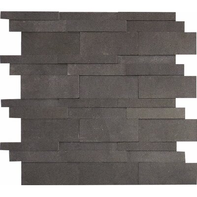 Lava 3D Random Sized Stone Mosaic Tile in Black Honed