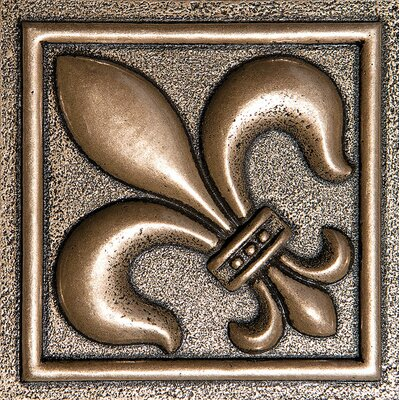 4 x 4 Fleur De Lis Deco Accent Tile in Bronze
