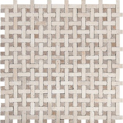 Basketweave Tumbled Stone Mosaic Tile in Ivory-Noce