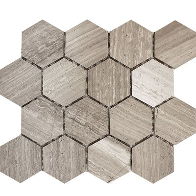 Wood Grain Hexagon 3 x 3 Stone Mosaic Tile in Gray Polished