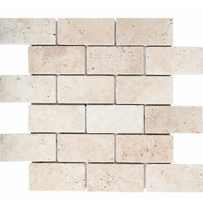 Tumbled Brick 2 x 4 Stone Mosaic Tile in Ivory