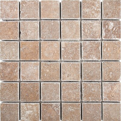 Tumbled 2 x 2 Stone Mosaic Tile in Noce