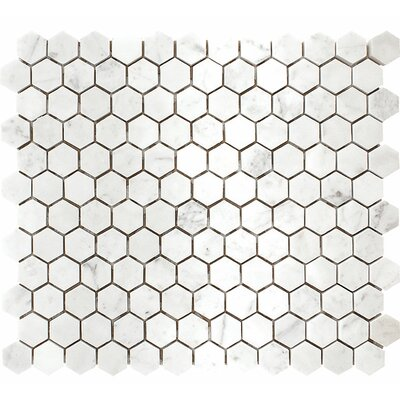 Carrara Hexagon 1 x 1 Stone Mosaic Tile in White Polished