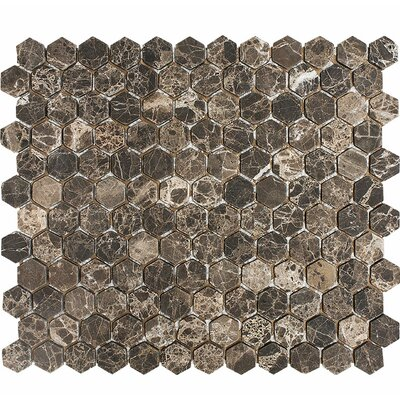 Emperador Tumbled Hexagon 1 x 1 Stone Mosaic Tile in Dark