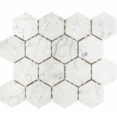 Carrara Hexagon 3 x 3 Stone Mosaic Tile in White Honed