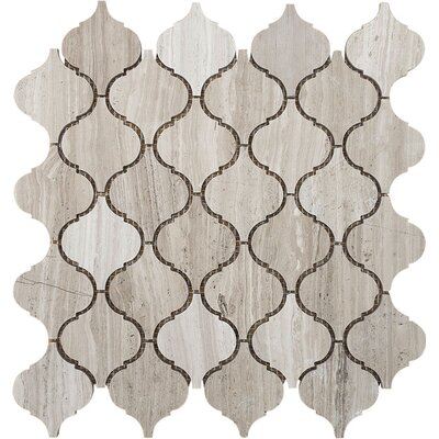 Santa Maria Wood Grain Stone Mosaic Tile in Grey Polished