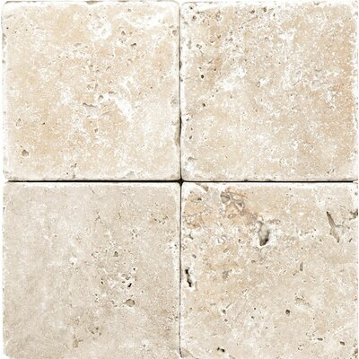 Rustic Tumbled 4 x 4 Stone Tile in Ivory