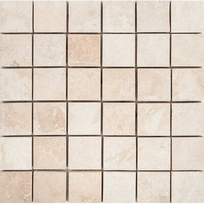 2 x 2 Stone Mosaic Tile in Ivory