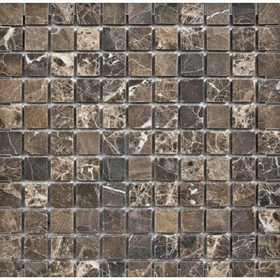 Emperador Tumbled 1 x 1 Stone Mosaic Tile in Dark