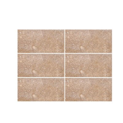 Tumbled 4 x 8 Travertine Subway Tile in Noce
