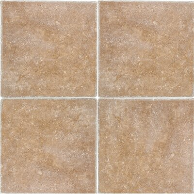 Tumbled 12 x 12 Travertine Field Tile in Noce