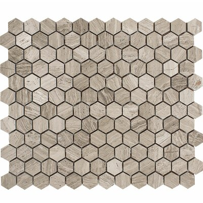 Wood Grain Hexagon 1 x 1 Stone Mosaic Tile in Gray Polished