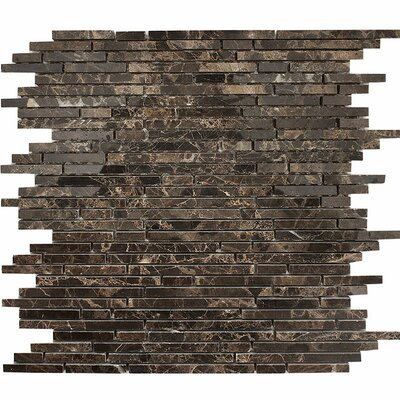 Emperador Random Strips Random Sized Stone Mosaic Tile in Polished Polished
