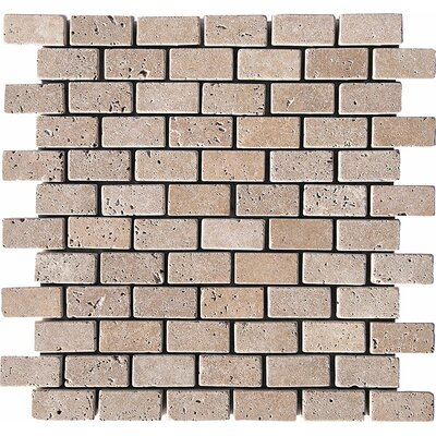 Tumbled Brick 1 x 2 Stone Mosaic Tile in Noce