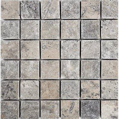 Tumbled 2 x 2 Stone Mosaic Tile in Silver