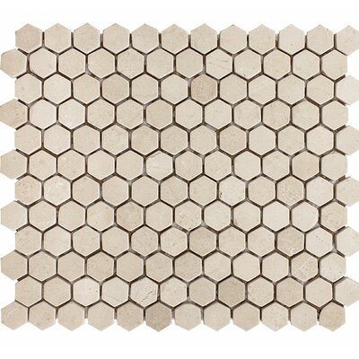 Crema Marfil Tumbled Hexagon 1 x 1 Stone Mosaic Tile