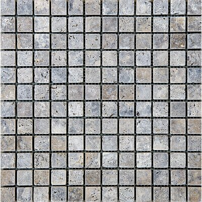 Tumbled 1 x 1 Stone Mosaic Tile in Silver