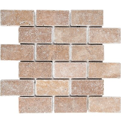 Tumbled Brick 2 x 4 Stone Mosaic Tile in Noce