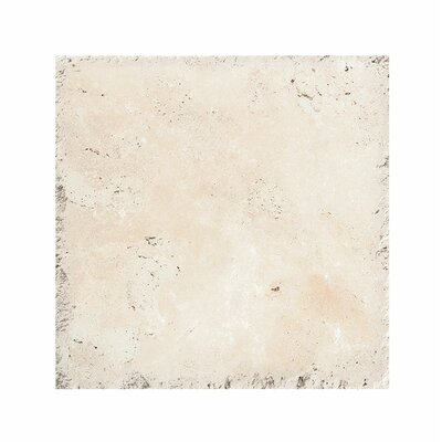 Classic 18 x 18 Travertine Field Tile in Ivory Chiseled Brushed