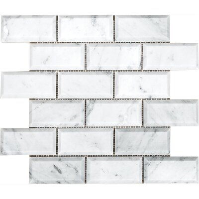 Carrara Beveled Brick 2 x 4 Stone Mosaic Tile in White Polished