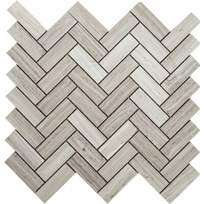 Wood Grain Grande Herringbone 1 x 3 Stone Mosaic Tile in Grey