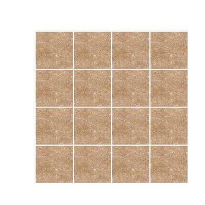 Tumbled 4 x 4 Travertine Field Tile in Noce