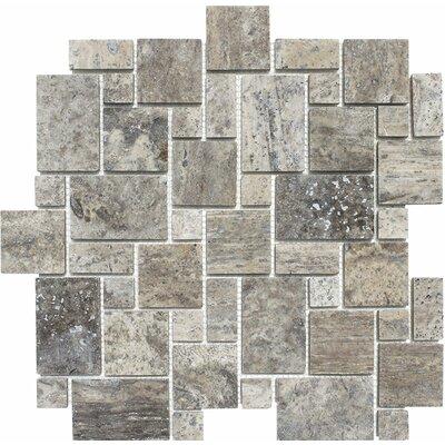 Mini Versailles Random Sized Stone Mosaic Tile in Silver
