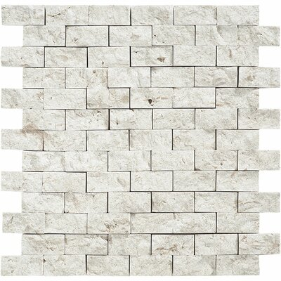Split Face 1 x 2 Stone Mosaic Tile in Fossil Stone