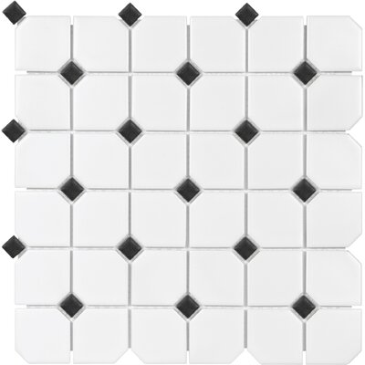Sail 2 x 2 Ceramic/Porcelain Mosaic Tile in Matte Onyx/White