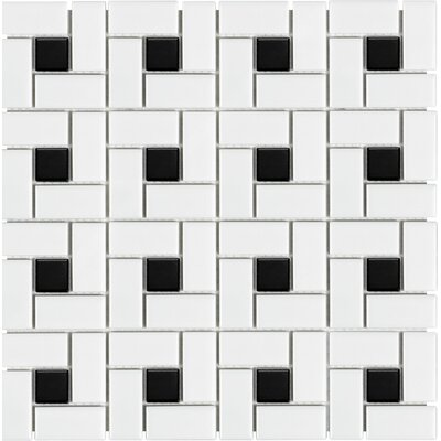 Sail Ceramic/Porcelain Mosaic Tile in Onyx/White