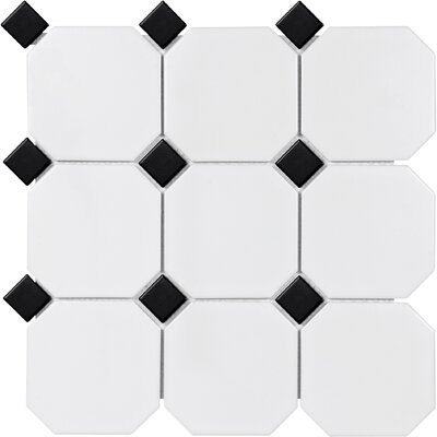 Sail 4 x 4 Porcelain Mosaic Tile in Onyx/White