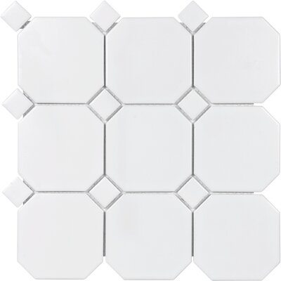 Sail 4 x 4 Ceramic/Porcelain Mosaic Tile in White