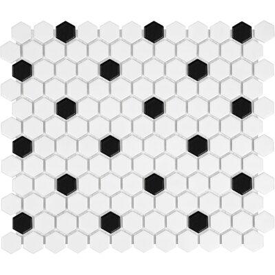 Sail 1 x 1 Ceramic/Porcelain Mosaic Tile in Onyx/White