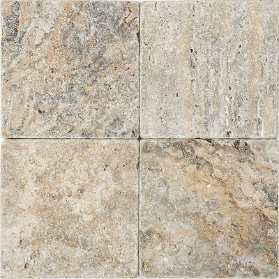 Scabos Tumbled 6 x 6 Travertine Field Tile in Gray