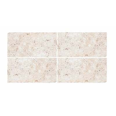 Tumbled 4 x 8 Travertine Subway Tile in Ivory