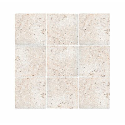 Tumbled 4 x 4 Travertine Field Tile in Ivory