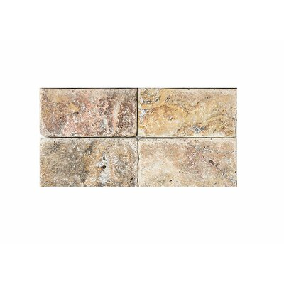 Scabos Tumbled 3 x 6 Travertine Field Tile in Brown