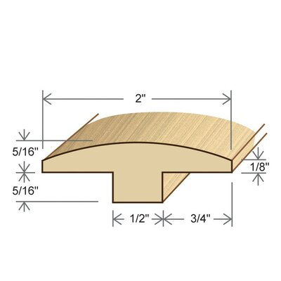 0.87 x 2 x 96 Maple T-Molding in Natural Toast Satin