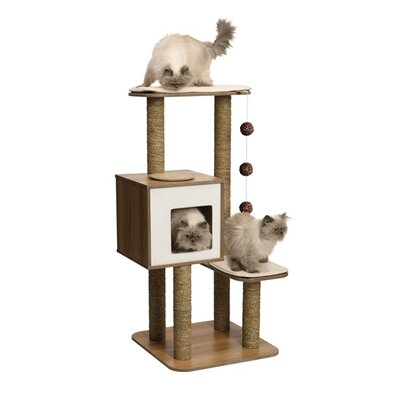 48 Bear High Base Cat Tree Color: Walnut