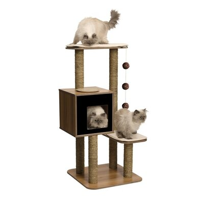 48 Vesper High Base Cat Tree Color: Black