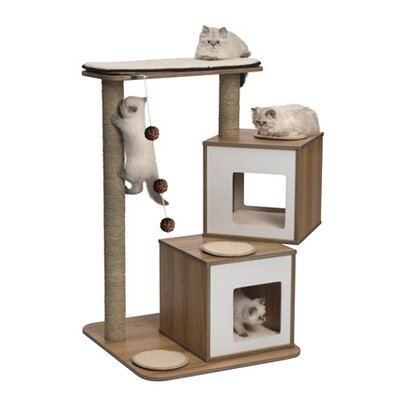 41 Vesper Double Cat Tree Color: Walnut
