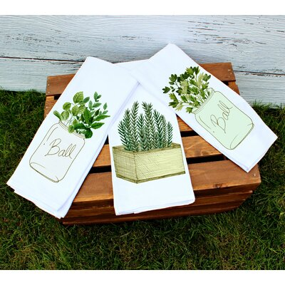 3 Piece Farmhouse Herb Kitchen Towel Set image