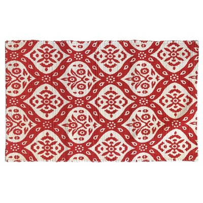 Mustafa Ogee Printed Cotton Hand Woven Red Area Rug